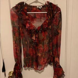CACHE Red Ruffle Silk Floral Sheer Blouse (XS)